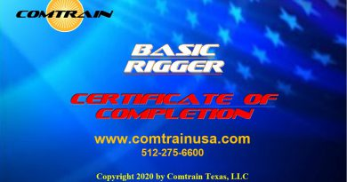 "COMTRAIN ADDS THE ""BASIC RIGGER"" CERTIFICATION"